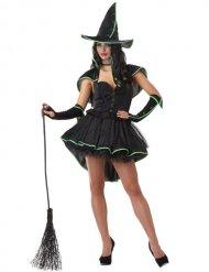 Sexy zwart en groen heksen kostuum voor vrouwen