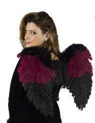 Gothic zwart en bordeaux rode engelenvleugels voor volwassenen