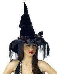 Zwarte heksenhoed met sluier