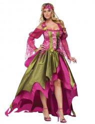 Groen en roze middeleeuws fee kostuum voor vrouwen