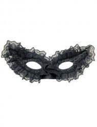 Zwart Venetiaans masker met kant voor volwassenen