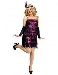 Glanzend paars charleston kostuum voor vrouwen