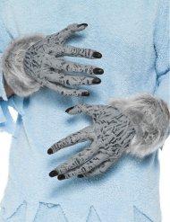 Grijze weerwolf handschoenen met vacht voor volwassenen