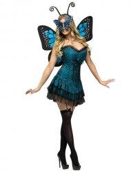 Blauw en zwart vlinderfee kostuum voor vrouwen