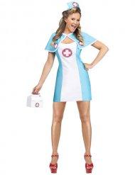 Verleidelijke lichtblauwe en witte verpleegster outfit voor vrouwen