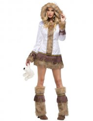 Sexy wit en nepbont eskimo kostuum voor vrouwen