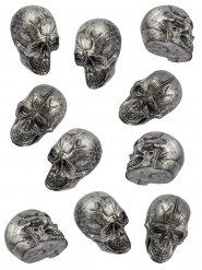10 zilverkleurige Halloween schedels