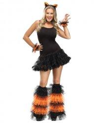 Zwarte en oranje beenwarmers en polsbanden voor dames