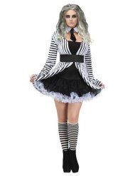 Gothic zwart en wit spook kostuum voor vrouwen