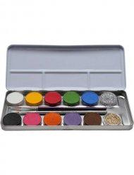 Schminkpalet met 12 kleuren en glitters