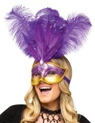 Venetiaans masker met paarse veren voor volwassenen