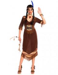 Klassiek bruin squaw indianen kostuum voor vrouwen