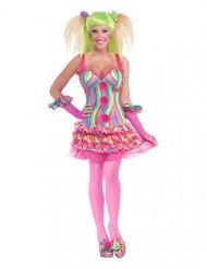 Sexy roze en veelkleurig clown kostuum voor vrouwen
