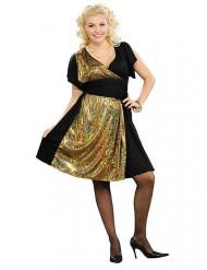 Zwart en goudkleurig disco kostuum voor vrouwen