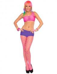 Neon roze netstof panty voor volwassenen