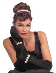 Zwarte diva handschoenen met witte parels voor volwassenen