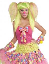 Clown pruik met lichtgroene staartjes