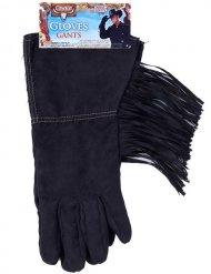 Zwarte cowboy handschoenen met franjes voor volwassenen