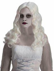 Witte spook pruik met lange haren voor volwassenen