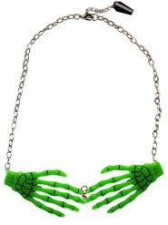 Groene skelethanden halsketting