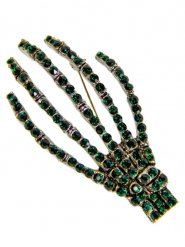 Groene gothic skelet hand broche