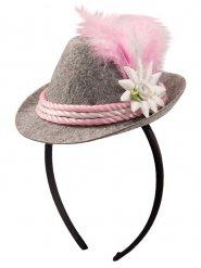Roze en grijze Beierse mini hoed voor vrouwen