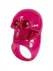 Roze doodskop ring