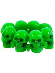 Fluo groene schedel armband voor volwassenen