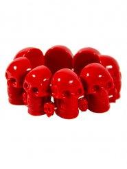 Rode doodskop armband voor volwassenen