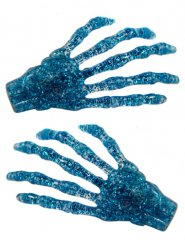 2 glitter blauwe skelethanden haarspelden