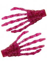 2 roze glitter skelethanden haarspelden