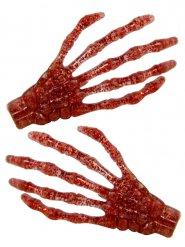 2 rode glitters skelethanden haarspelden