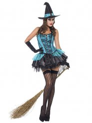 Sexy blauwe heksenoutfit voor vrouwen
