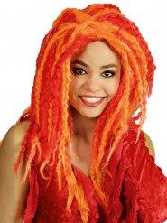 Rode en oranje dreadlocks pruik voor volwassenen