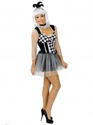 Zwarte en witte harlekijn clownoutfit voor vrouwen