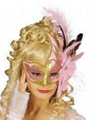 Venetiaans masker met veren en bloemen voor volwassenen