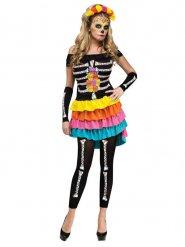 Zwarte skelet panty voor vrouwen