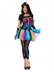 Veelkleurig skelet kostuum voor vrouwen