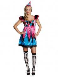 Blauw en roze geruit harlekijn kostuum voor vrouwen
