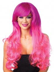 Luxe fuschia roze pruik voor dames