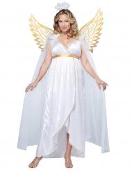 Wit en goudkleurig engel kostuum voor dames - Plus Size