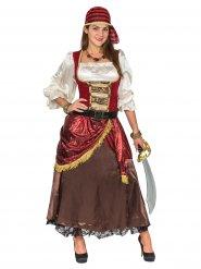 Deluxe satijnachtig piraat kostuum voor vrouwen