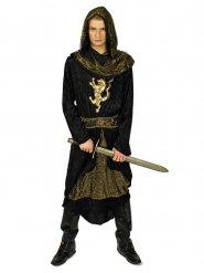 Zwart en goudkleurig ridder kostuum voor mannen