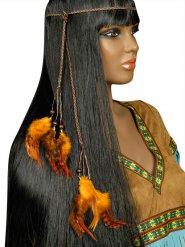 Indianen haarband met oranje veren voor volwassenen