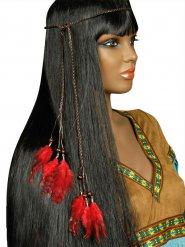 Indiaanse hoofdband met rode veren voor volwassenen