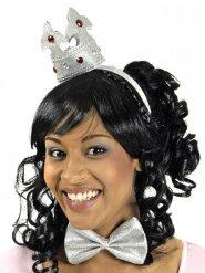 Zilverkleurige kroon haarband en strikje voor volwassenen