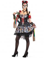 Kleurrijke Dia de los Muertos schedel outfit voor dames