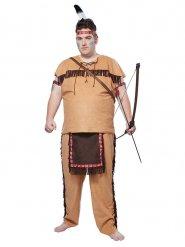 Grote maat bruin indiaan kostuum voor mannen