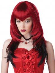 Rood-zwarte vampier pruik voor volwassenen