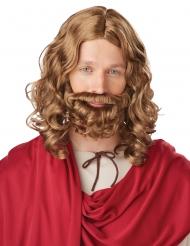 Kastanjebruine Jesus pruik en baard